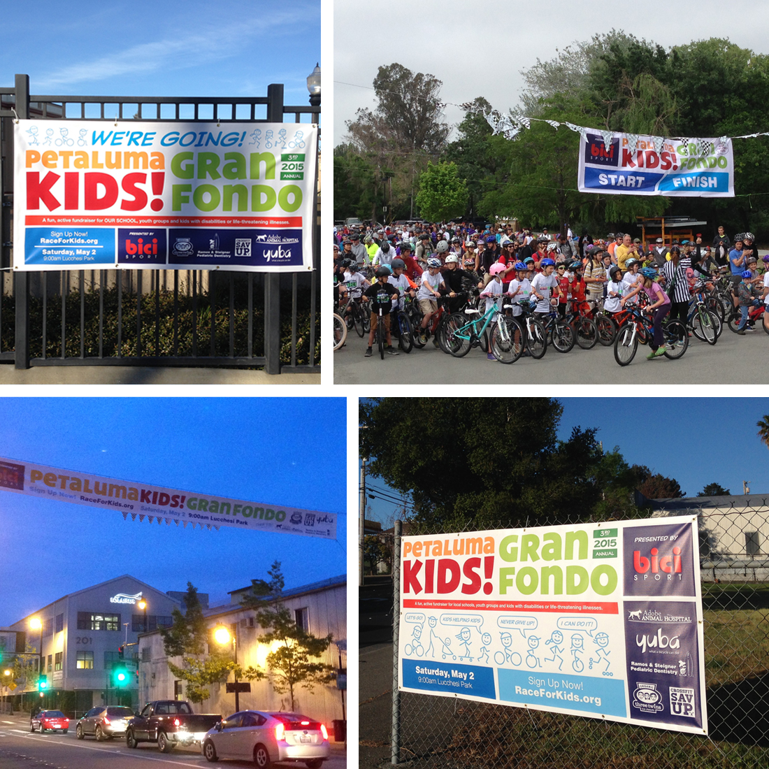 Event identity plays out on various banners around the region.  Banners include school participation, road side ads major street overhead ads, sponsor thank you, and start/finish.