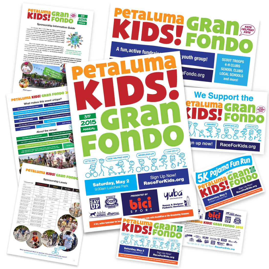 Developed cohesive and flexible graphic identity for a non-profit's annual flagship fundraiser: a kid + family cycling event. Collateral included sponsor solicitation docs, in-store posters, postcards, yard signs and more.