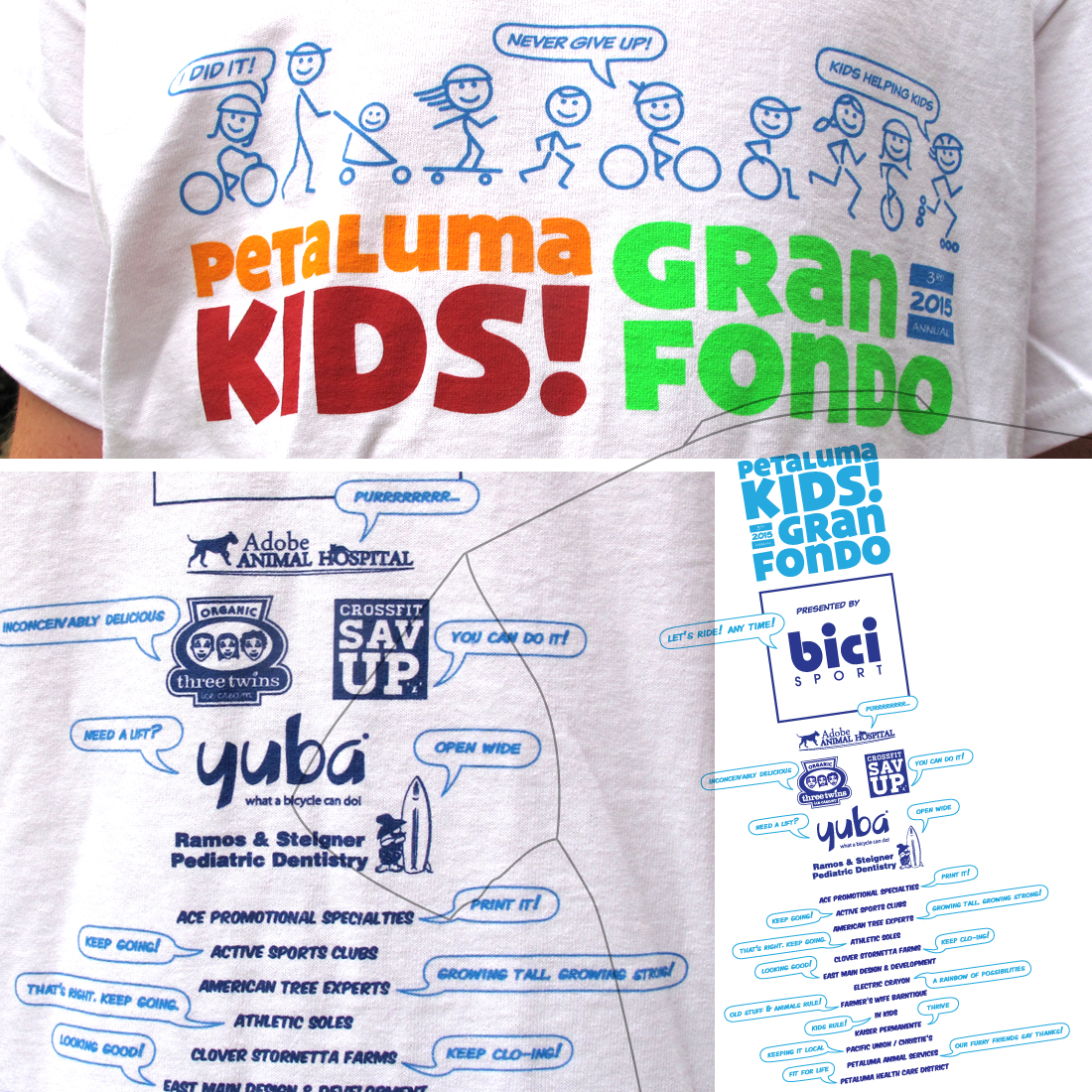 "Event participant T-shirts reinforce the ""kids helping kids"" theme while providing a long list of sponsors with a greater opportunity for visibility."